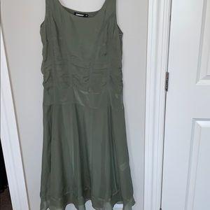 DKNY silk ruched fit n flare midi dress